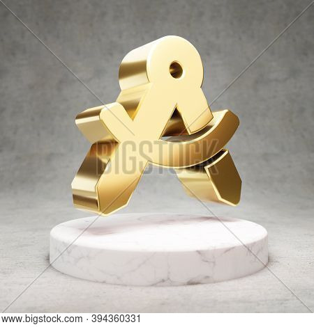 Drafting Compass Icon. Gold Glossy Drafting Compass Symbol On White Marble Podium. Modern Icon For W