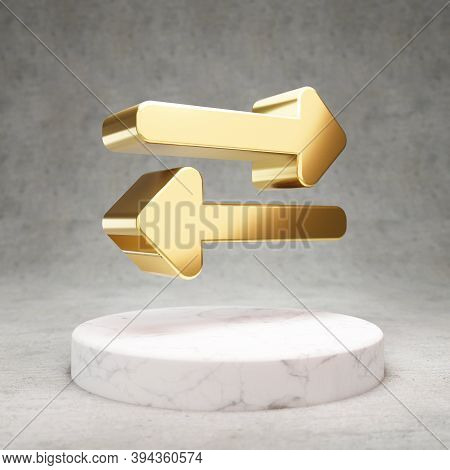 Exchange Icon. Gold Glossy Exchange Symbol On White Marble Podium. Modern Icon For Website, Social M
