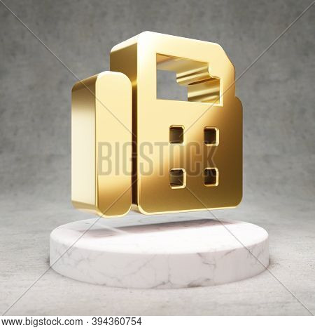 Fax Icon. Gold Glossy Fax Symbol On White Marble Podium. Modern Icon For Website, Social Media, Pres