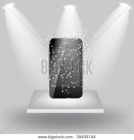 Mobile phone on white shelve on light grey background. Vector  i