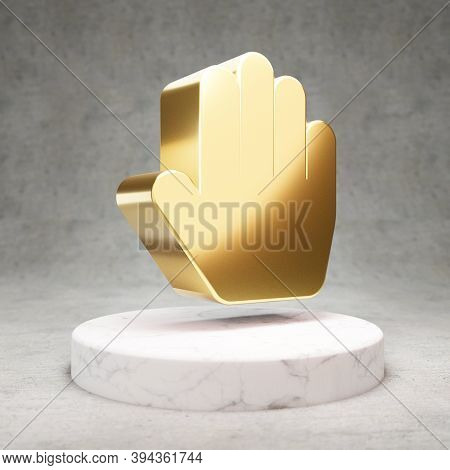 Hand Paper Icon. Gold Glossy Hand Paper Symbol On White Marble Podium. Modern Icon For Website, Soci