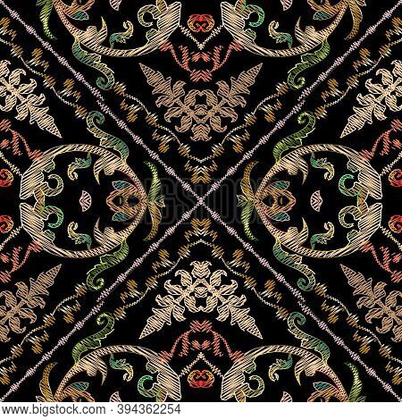 Baroque Embroidery Vector Seamless Pattern. Geometric Abstract Striped Tapestry Background. Grunge S
