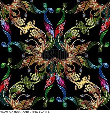 Floral Embroidery Vector Seamless Pattern. Abstract Tapestry Colorful Background. Grunge Flowers, Le