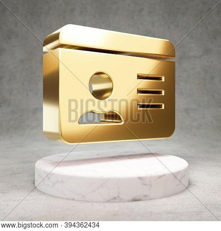 Id Card Icon. Gold Glossy Id Card Symbol On White Marble Podium. Modern Icon For Website, Social Med