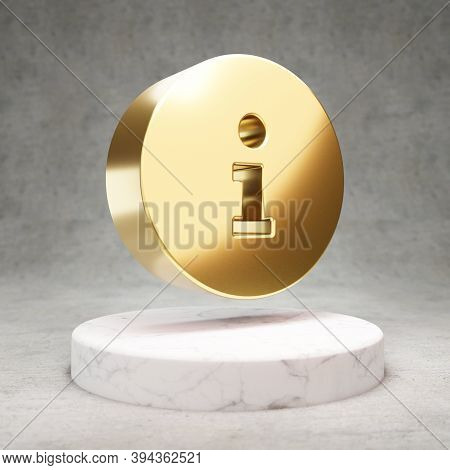 Info Circle Icon. Gold Glossy Info Circle Symbol On White Marble Podium. Modern Icon For Website, So