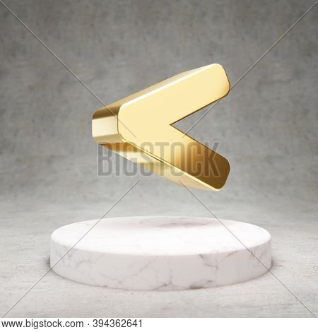 Less Than Icon. Gold Glossy Less Than Symbol On White Marble Podium. Modern Icon For Website, Social