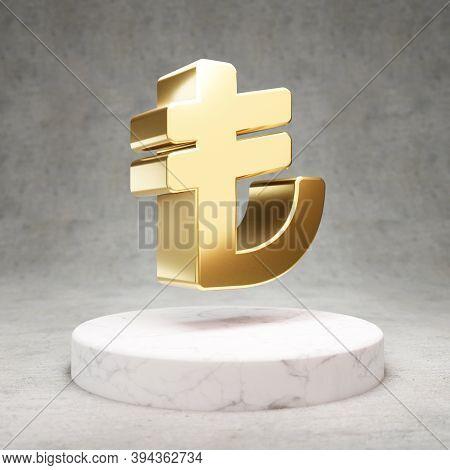 Lira Icon. Gold Glossy Lira Symbol On White Marble Podium. Modern Icon For Website, Social Media, Pr