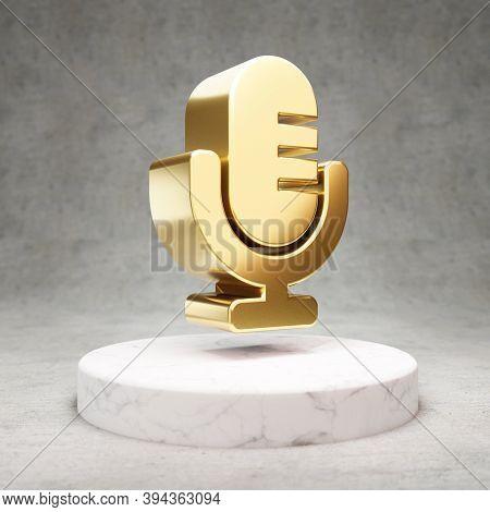 Retro Microphone Icon. Gold Glossy Retro Microphone Symbol On White Marble Podium. Modern Icon For W