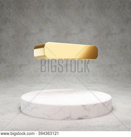 Minus Icon. Gold Glossy Minus Symbol On White Marble Podium. Modern Icon For Website, Social Media,