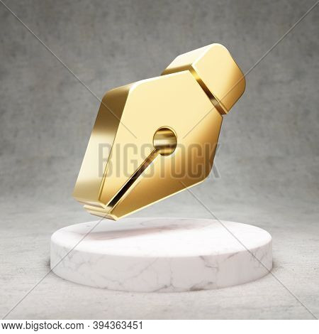 Pen Nib Icon. Gold Glossy Pen Nib Symbol On White Marble Podium. Modern Icon For Website, Social Med