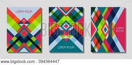 Set Of Cover Page Layouts, Vector Templates Geometric Design With Triangles And Stripes. Carnival Br