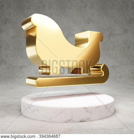 Sleigh Icon. Gold Glossy Sleigh Symbol On White Marble Podium. Modern Icon For Website, Social Media