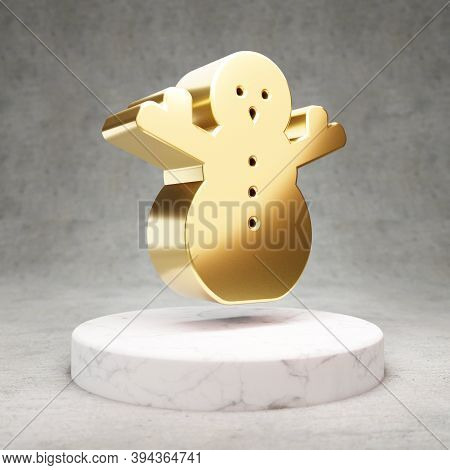 Snowman Icon. Gold Glossy Snowman Symbol On White Marble Podium. Modern Icon For Website, Social Med