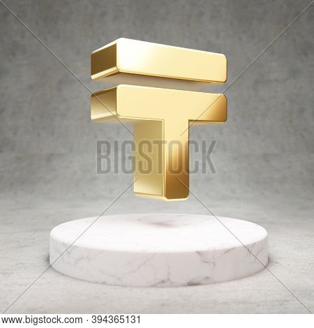 Tenge Icon. Gold Glossy Tenge Symbol On White Marble Podium. Modern Icon For Website, Social Media,
