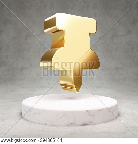 Thumbtack Icon. Gold Glossy Thumbtack Symbol On White Marble Podium. Modern Icon For Website, Social