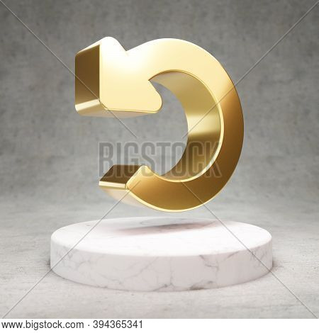 Undo Icon. Gold Glossy Undo Symbol On White Marble Podium. Modern Icon For Website, Social Media, Pr