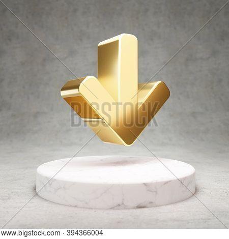 Arrow Down Icon. Gold Glossy Arrow Down Symbol On White Marble Podium. Modern Icon For Website, Soci