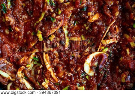 Plant-based Food, Vegan Lasagna With Dairy Free Cheese Spiralized Zucchini And Mushroom Mince In Gar