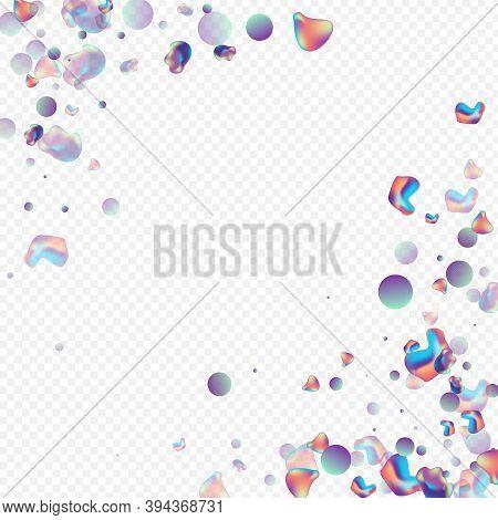 Iridescent Elements Cosmic Vector Transparent Background. Modern Holography Brochure. Neon Shape Liq