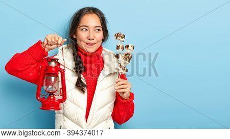 Pretty Dark Haired Girl Enjoys Spare Time, Prepares Tasty Marshmallow On Bonfire, Spends Night Near