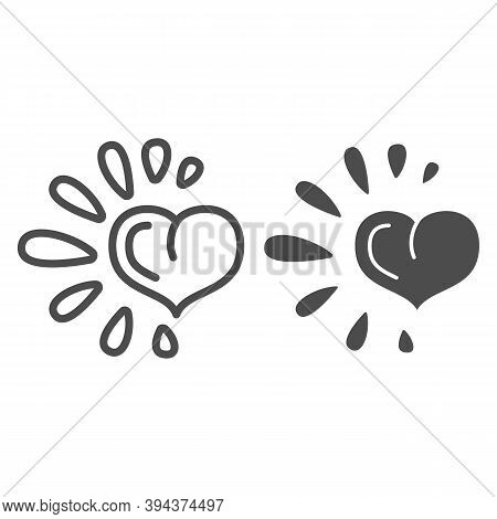 Healthy Heart Line And Solid Icon, Healthy Lifestyle Concept, Life Without Drug Sign On White Backgr