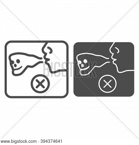 No Smoke Sign Line And Solid Icon, Life Without Addiction Concept, Anti Smoking Sign On White Backgr