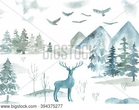 Winter Forest Tree Clipart Watercolor Woodland Pine Trees, Landscapes, Mountain Digital Clip Art