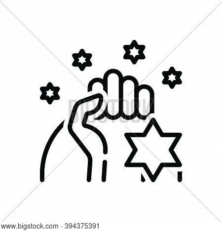 Black Line Icon For Pride Dignity Egotism Pridefulness Honor Pleasure Self-confidence Self-respect S