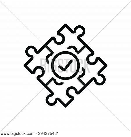 Black Line Icon For Solve Puzzle Answer Resolve Clarify Puzzle-out Problem Complete