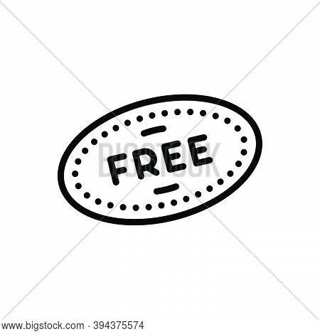 Black Line Icon For Free Liberated Label Freebies Item Offer Badge Coupon Discount