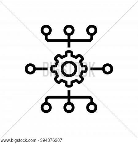 Black Line Icon For System Mainframe Network Database Information Software Server Engineering App-te
