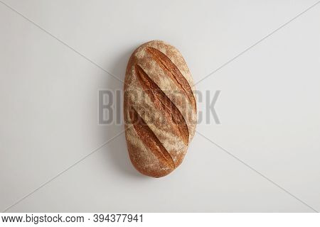 Food Concept. Big Loaf Of White Freshy Baked Sourdough Bread Prepared On Organic Flour And Without Y