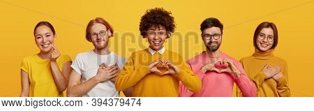 Happy People Express Love And Gratitude, Shape Hearts To Camera, Confess In Good Feelings, Woman And