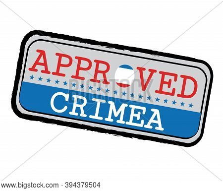 Vector Stamp Of Approved Logo With Crimea Flag In The Shape Of O And Text Crimea. Grunge Rubber Text