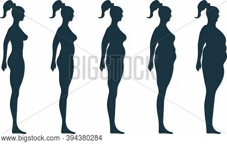 Black View Side Body Silhouette, Fat Extra Weight Female Anatomy Human Character, People Dummy Isola