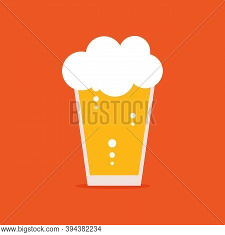 Beer Glass In Cartoon Style. Lager Vector Illustration, Icon. International Beer Day Card.