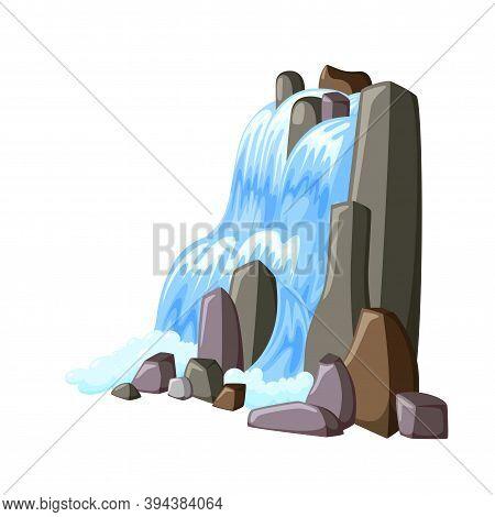 Waterfall Cascade In Rocks. Water Splashing Down With Foam. Vector Illustration Of Falling River In
