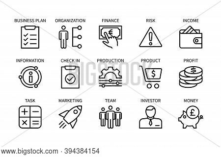 Business And Finance, Vector Set Of Linear Icons. Business Management. Organization, Marketing, Team