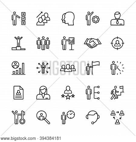 Business People, Vector Linear Icons Set. Business Management. Interaction, Trust Handshake, Work, S