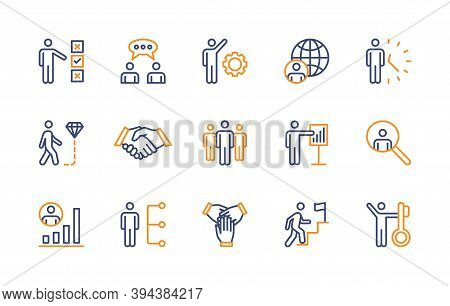 Business People, Vector Color Linear Icons Set. Business Management. Interaction, Trust Handshake, W