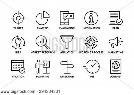 Planning Stages, Business And Finance, Vector Set Of Linear Icons. Business Stages. Target, Idea, Ti