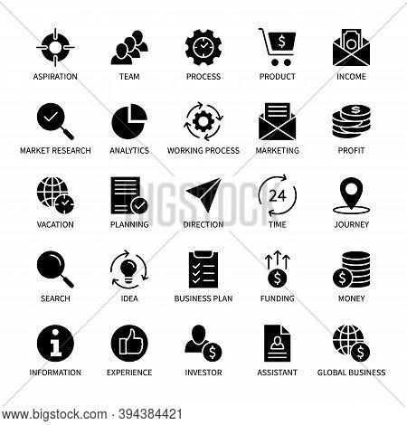 Business And Finance Management, Vector Silhouette Icons Set. Search Idea Income Marketing Time Team