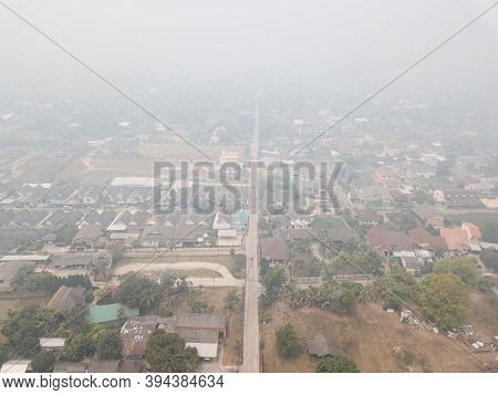 Road Through The Town During Bad Air-pollution (pm2.5) Covered Chiang Rai Town, The Northern Provinc