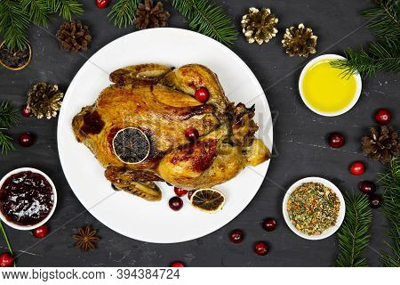 Traditional Christmas Roasted Chicken On Served Holiday Table, Top View.