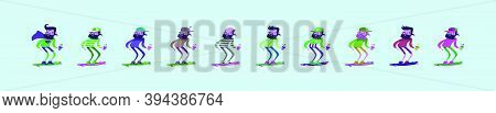 Set Of Hipster Skater With Skateboard Cartoon Icon Design Template In Various Models. Modern Vector