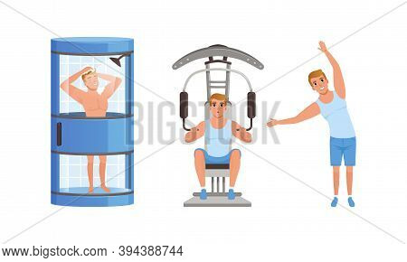 Guy Taking Shower, Flexing Muscles On Trainer Gym Machine And Doing Morning Workout Set, Young Man A