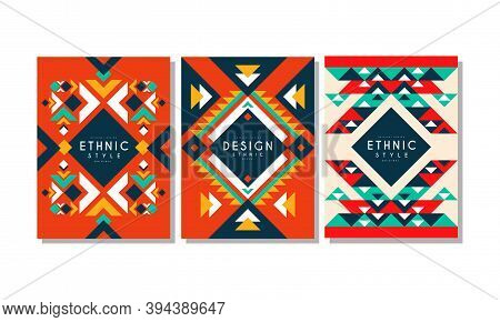 Ethnic Style Cards Set, Colorful Flyer, Brochure, Cover Templates, Ethnic Geometric Abstract Backgro