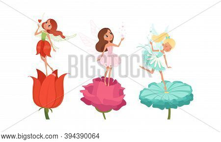 Beautiful Fairy Girls With Wings On Flowers Set, Beautiful Girls Dancing In Pretty Flower Dresses Ca