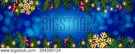 Christmas And New Year Blue Background With Realistic Pine Branches, Candy Canes, Serpentine, Glitte