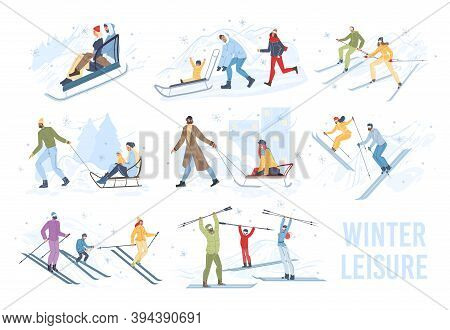 Set Of Flat Cartoon Family Characters Doing Winter Outdoor Sport Activities, Skiing And Sledging In